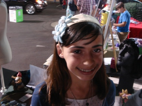 One sister's felted floral headband choice