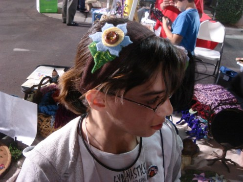 Other sister's felted floral headband pick (I loved that button!)